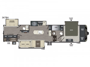 The Keystone Laredo 367BH 5th Wheel features a huge rear bedroom and has 1 & 1/2 baths!