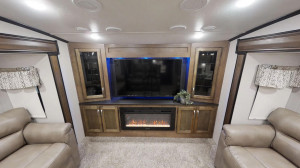 The Chaparral 370FL features a spacious front living entertainment area.