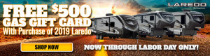 Sale extended through September 30 on all new 2019 Keystone Laredos at Byerly RV in Eureka, MO