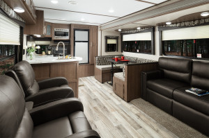 """Hideout travel trailers feature a Furrion glass top oven, 81"""" Interior height, Porcelain foot flush toilet, Residential batten strips on ceiling, and more!"""