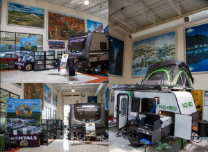 The Byerly RV showroom in St. Louis, MO features murals of RV vacation destinations across America