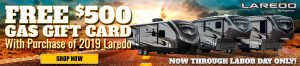Get a $500 gas gift card with purchase of any 2019 Keystone Laredo at Byerly RV in St. Louis, MO