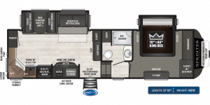 This Keystone 5th Wheel features a walk around King Bed. See it at Byerly RV in Eureka, MO