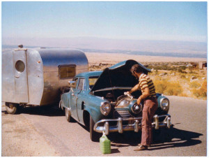 Byerly RV Owner and President Russ Patton gets the Studebaker ready to pull the Byerly trailer on it's last adventure.
