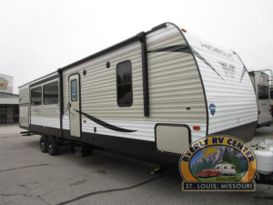 The 338LHS Keystone Hideout is a bunk room trailer with bath and a half. plus a huge living room and queen bedroom.  See it at Byerly RV in Eureka, MO