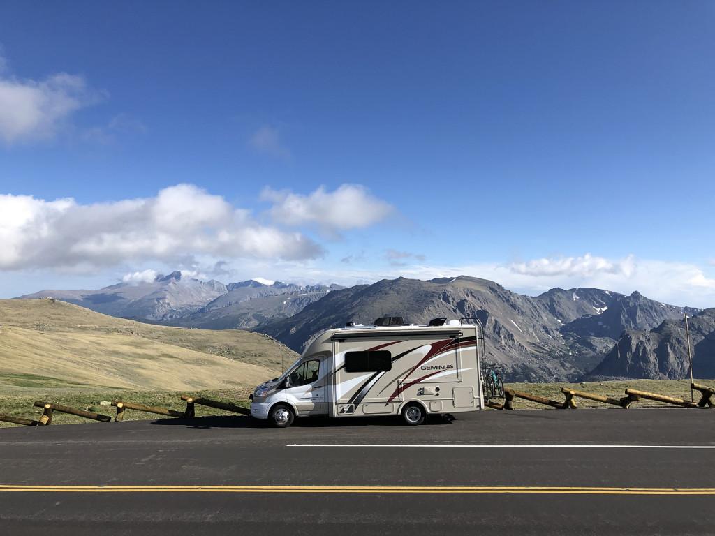 Thor Motor Coach Gemini Motor Home in the Colorado mountains.