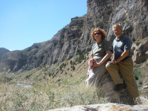 """Russ and Adrienne at Yellowstone. The famous """"Geezer to the Geyser"""" adventure as documented on the Byerly RV radio commercials"""