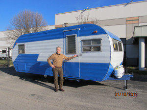 Russ Patton with a restored  Byerly Trailer built by Walter Byerly